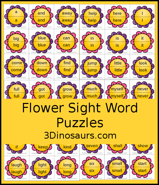 Free Spring Themed Flower Sight Word Matching Puzzles with 220 Sight Words - with two-piece matching puzzles for all 220 Dolch Sight words. A very fun way to work on sigh words - 3Dinosaurs.com
