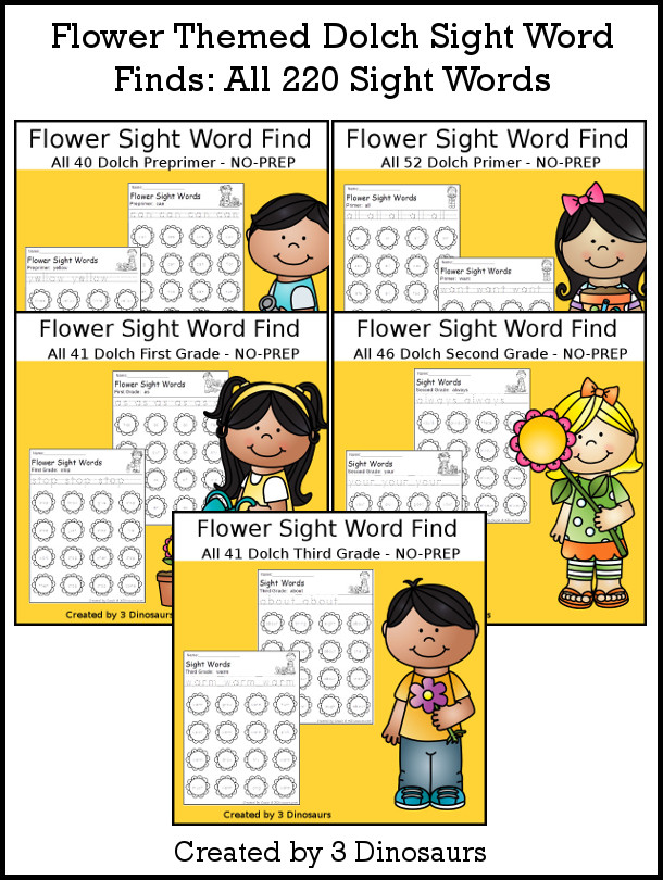 Flower Themed Sight Word Find - with tracing the sight words and then finding the sight word on the flower. There are 220 sight words in the set - 3Dinosaurs.com