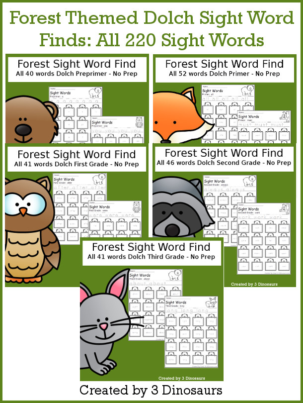 Forest Sight Words Find Bundle - all 220 Dolch Sight Words in a no-prep printable for tracing and finding sight words - 3Dinosaurs.com #sightwords #forestforkids #noprepprintable #tpt