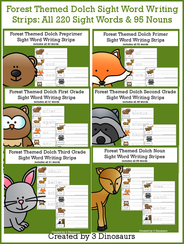 Forest Sight Words Tracing Strips Bundle - all 220 Dolch Sight Words and 95 nouns, build mat and recording sheet - 3Dinosaurs.com #sightwords #forestforkids #tracingpractice #writingpractice