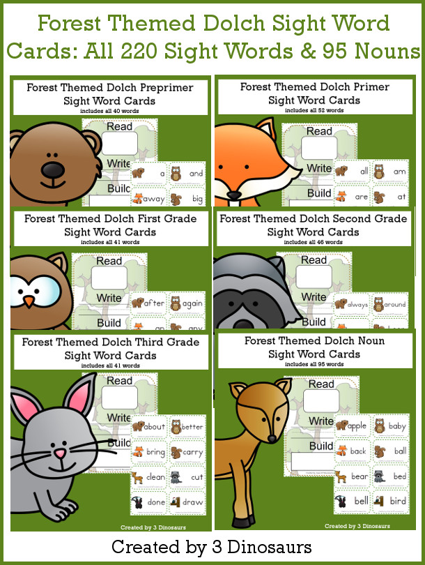 Forest Sight Words & Nouns Cards Bundle - all 220 Dolch Sight Words and 95 nouns with read write and build mat - 3Dinosaurs.com #sightwords #forestforkids #flashcards
