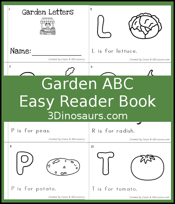 Free Garden Themed ABC Easy Reader Book - 10 page books with letters and words that have a garden veggies theme - 3Dinosaurs.com