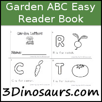 Garden Theme ABC Easy Reader Book - 10 pages - 3Dinosaurs.com