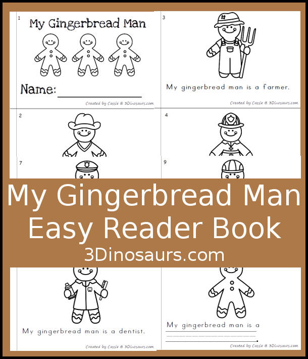 My Gingerbread Man Easy Reader Book - a fun 10 page book where you have different gingerbread men - 3Dinosaurs.com