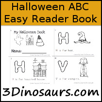 Halloween ABC Easy Reader Book - 10 pages - 3Dinosaurs.com