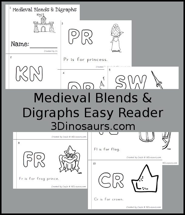 Free Medieval Blends & Digraphs Easy Reader Book - 10 page books with blends and digraphs that match the theme - 3Dinosaurs.com