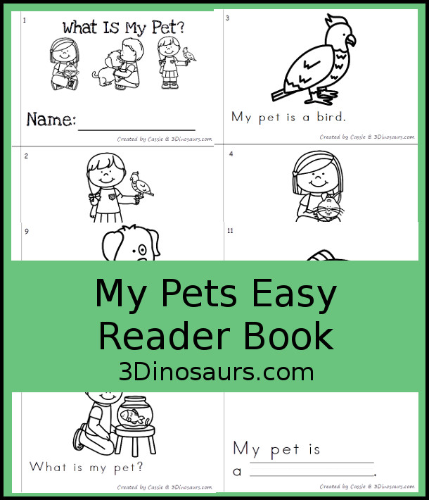 Free What Is My Pet Easy Reader Book - a fun 12 page book for kids to read and learn about pets - 3Dinosaurs.com