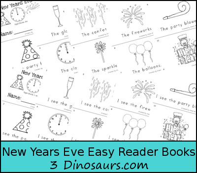 Free New Years Eve Early Reader Books - sight words: the, I, see - 3Dinosaurs.com