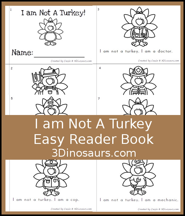 Free I Am Not A Turkey Easy Reader Book - a fun 8 page book where a turkey has many disguises - 3Dinosaurs.com