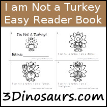 I Am Not A Turkey Easy Reader Book - 4 pages - 3Dinosaurs.com