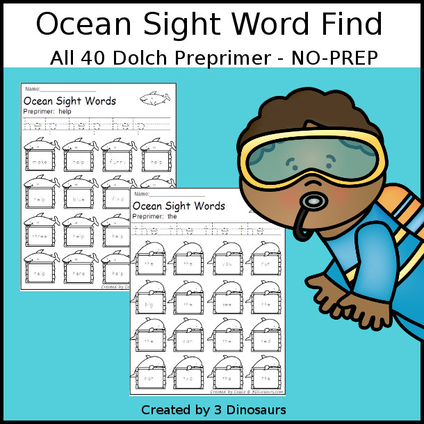 Ocean Sight Word Find: Preprimer - easy to use no-prep printable - all 40 Dolch Preprimer sight words $ - 3Dinosaurs.com