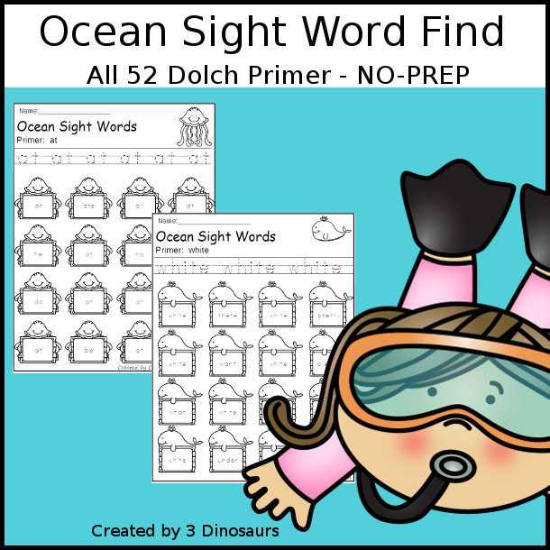 Ocean Sight Word Find: Primer - easy to use no-prep printable - all 52 Dolch Primer Sight Words $ - 3Dinosaurs.com