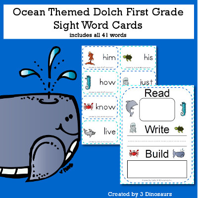 Ocean Theme Dolch First Grade Sight Words - all 41 words in the Dolch First $ - 3Dinosaurs.com