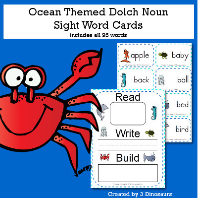 Ocean Theme Dolch Noun Sight Words - all 95 words in the Dolch Nouns $ - 3Dinosaurs.com
