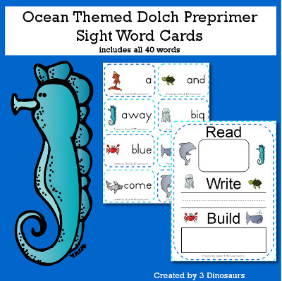 3 Dinosaurs - Ocean Theme Dolch Sight Words Cards