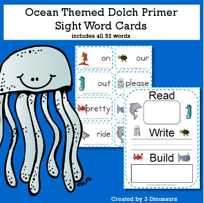 Ocean Theme Dolch Preprimer Sight Words - all 52 words in the Dolch Primer $ - 3Dinosaurs.com