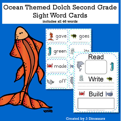 Ocean Theme Dolch Second Grade Sight Words - all 46 words in the Dolch Second Grade $ - 3Dinosaurs.com