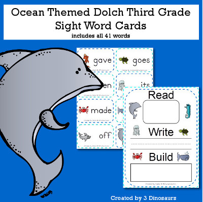 Ocean Theme Dolch Third Grade Sight Words - all 41 words in the Dolch Third Grade $ - 3Dinosaurs.com