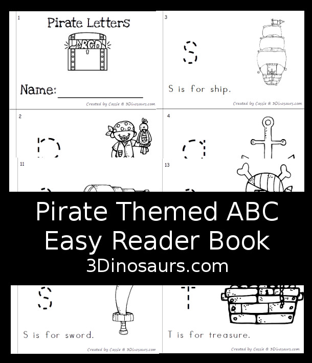 Free Pirate Themed ABC Easy Reader Book - 14 page book with abc themes for a pirate theme - 3Dinosaurs.com