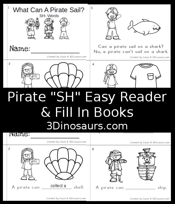 Free Pirate SH Themed Easy Reader Books - simple books to read and a book to fill in the blank for older kids all while working on sh words - 3Dinosaurs.com
