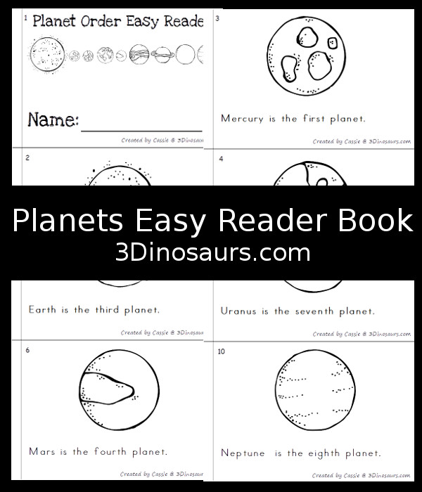 Free Planet Order Easy Reader Book - 12 page books with planets name and how far from the sun they are - 3Dinosaurs.com