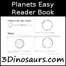 Planets Easy Reader Book - 12 pages - 3Dinosaurs.com