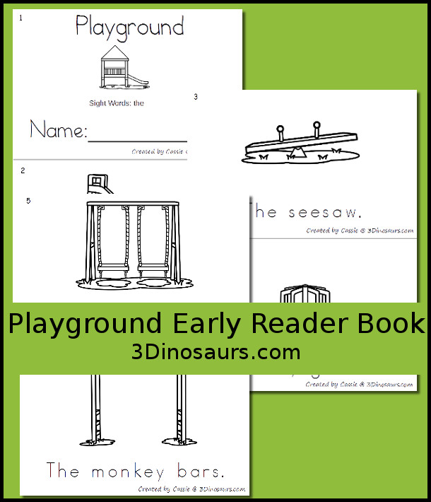 Free Playground Early Reader Book - 6 page book - 3Dinosaurs.com
