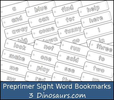 Preprimer Sight Word Coloring Bookmarks - Free & Set to buy - 3Dinosaurs.com
