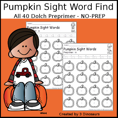 Pumpkin Find Dolch Preprimer Sight Words $ - 3Dinosaurs.com