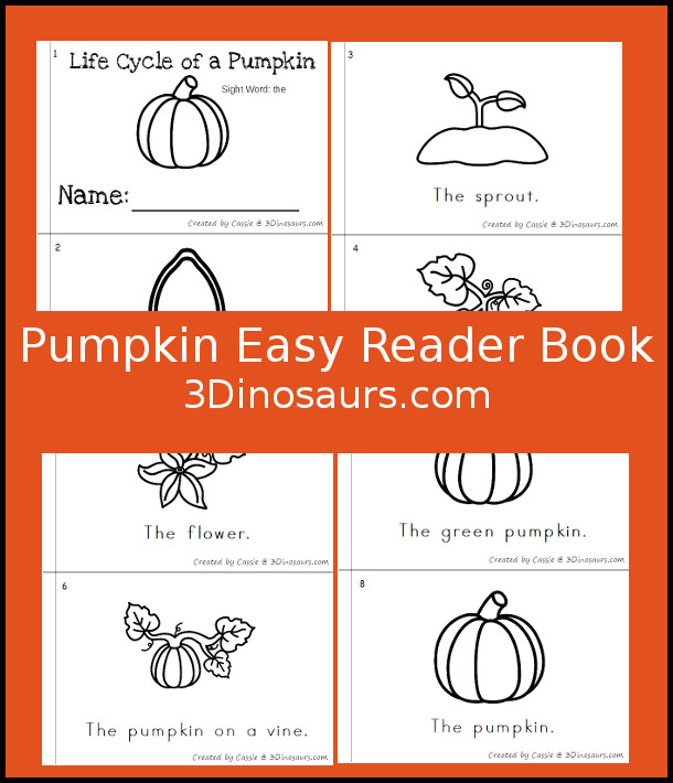 Free Pumpkin Easy Reader Book - 3Dinosaurs.com