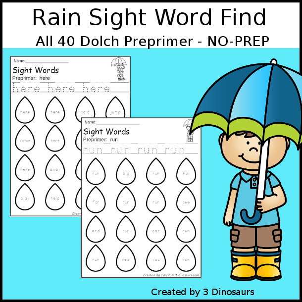 Rain Sight Word Find: Preprimer - easy to use no-prep printable - all 40 Dolch Preprimer sight words $ - 3Dinosaurs.com