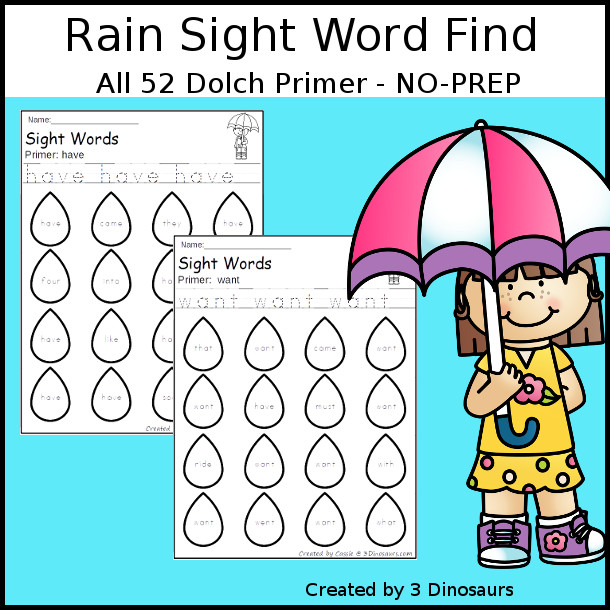 Rain Sight Word Find: Primer - easy to use no-prep printable - all 52 Dolch Primer sight words $ - 3Dinosaurs.com