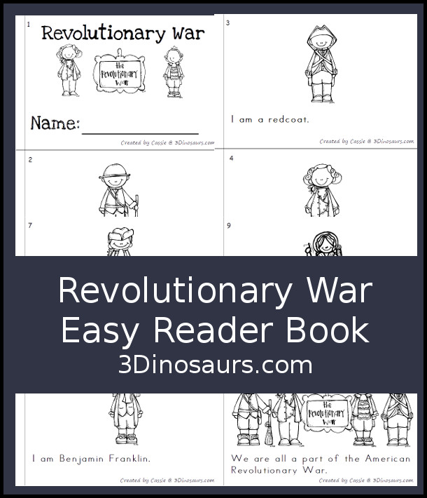 Free American Revolutionary War Easy Reader Book - 10 page book with people from the war using sight words I, am  - 3Dinosaurs.com