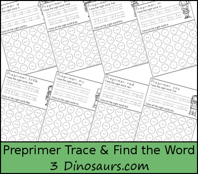 3 Dinosaurs Sight Word Trace Find The Word