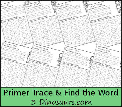 Free Primer Sight Word Trace & Dot the Word - 3Dinosaurs.com