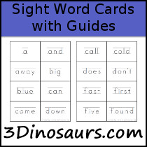 Sight Word Cards with Guides