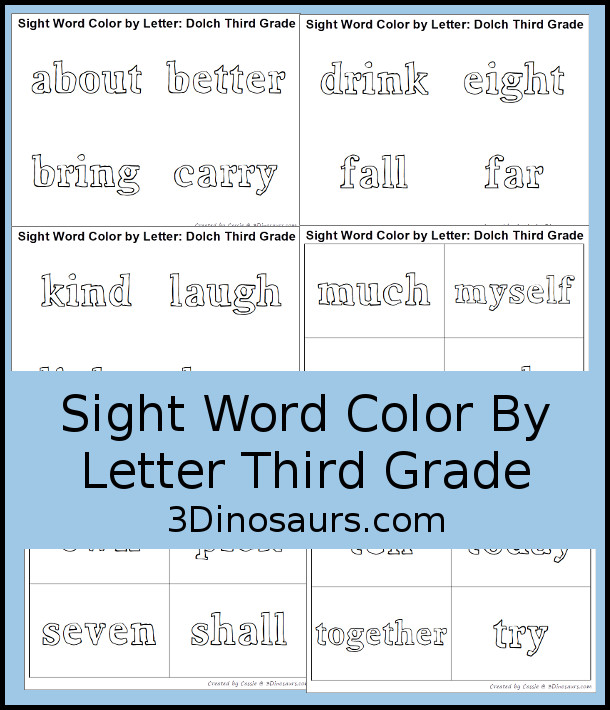 Free Sight Word Color By Letter Third Grade Printable 3 Dinosaurs