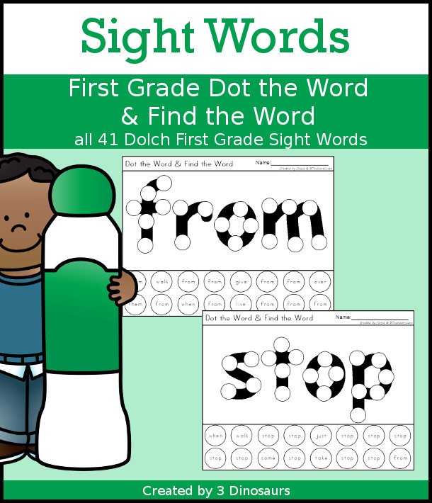 Sight Word First Grade Dot the Word & Find the Word - all 41 First Grade sight words with dot marker words with a dot find the word - no-prep printable - 3Dinosaurs.com