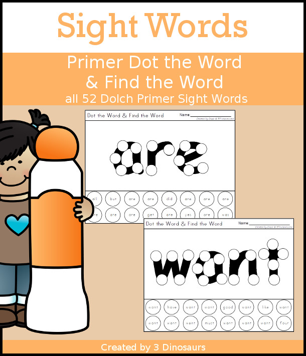 Sight Word Primer Dot the Word & Find the Word - all 52 Primer sight words with dot marker words with a dot find the word - no-prep printable - 3Dinosaurs.com