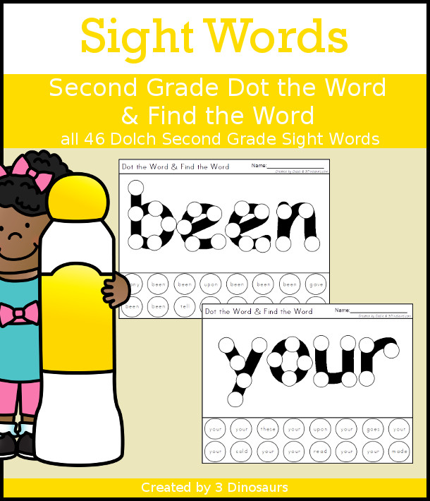 Sight Word Second Grade Dot the Word & Find the Word - all 46 Second Grade sight words with dot marker words with a dot find the word - no-prep printable - Dinosaurs.com