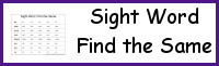 Sight Word Find the Same
