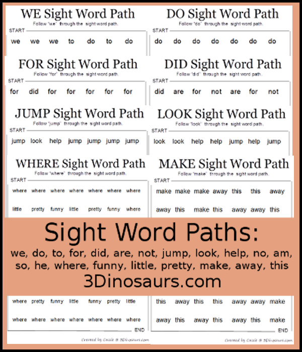 Sight Word Paths: we, do, to, for, did, are, not, jump, look, help, no, am, so, he , where, funny, little, pretty, make, away, this- 3Dinosaurs.com