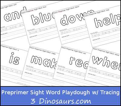 Free Dolch Preprimer Sight Words Playdough Mats with Tracing