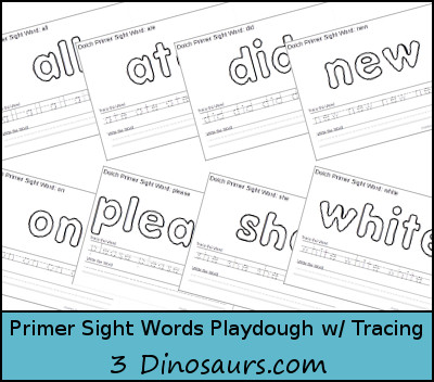 Free Dolch Primer Sight Words Playdough Mats with Tracing