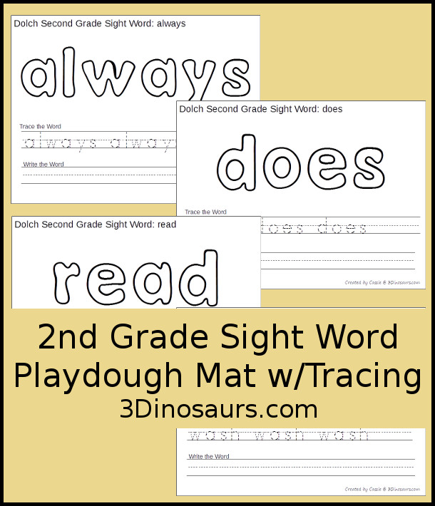 Free Dolch Second Grade Sight Words Playdough Mats with Tracing - 3Dinosaurs.com