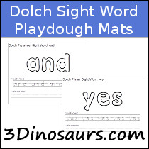 Sight Word Playdough Mats with Tracing