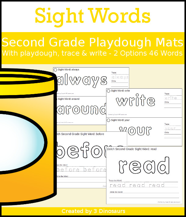 Sight Word Playdough mats with Tracing & Writing Second Grade Words - 2 types of playdough mat options all 46 words - 3Dinosaurs.com #sightwords #learningtoread #handsonlearning #secondgrade