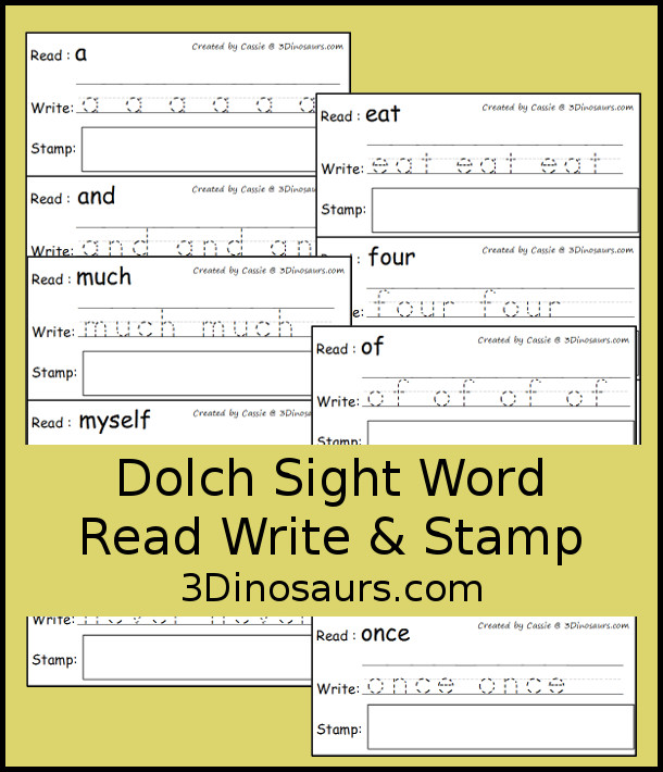 Free Sight Word Read Write & Stamp Dolch Preprimer & Primer - 3Dinosaurs.com