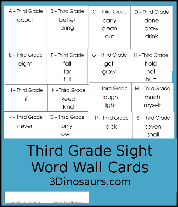 Free Dolch Third Grade Sight Word Wall Cards: It has all 41 words sorted by letter - 3Dinosaurs.com