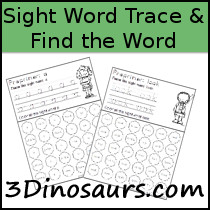 Sight Word Trace & Find the Word
